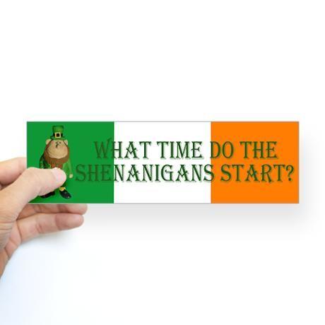 Irish Flag Leprechaun shenanigans Bumper Sticker