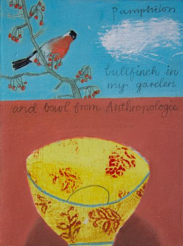 Bullfinch in my Garden by Elaine Pamphilon