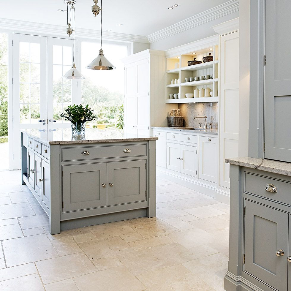 Light Reflective Floor And Worktop Coloured Units Worth - Light grey shaker cabinets