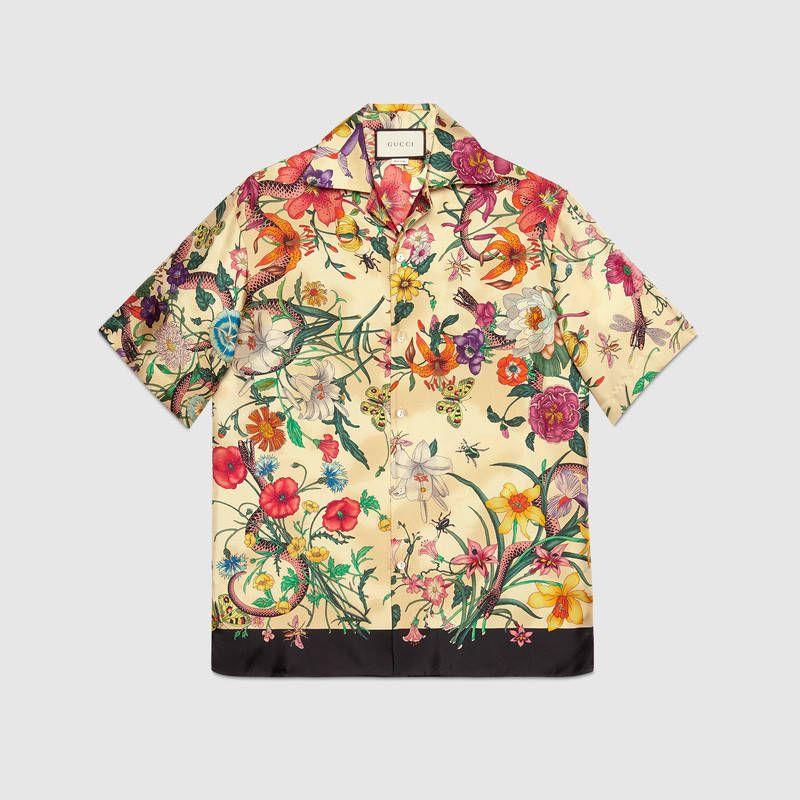 2fcad94f4 Flora Snake print silk bowling shirt | Menswear | Mens printed ...