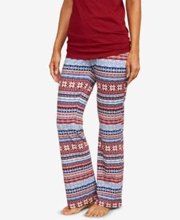 c7428f359e8e6 Motherhood Maternity Maternity Pajama Pants - Burgundy And Blue Fair Isle XL
