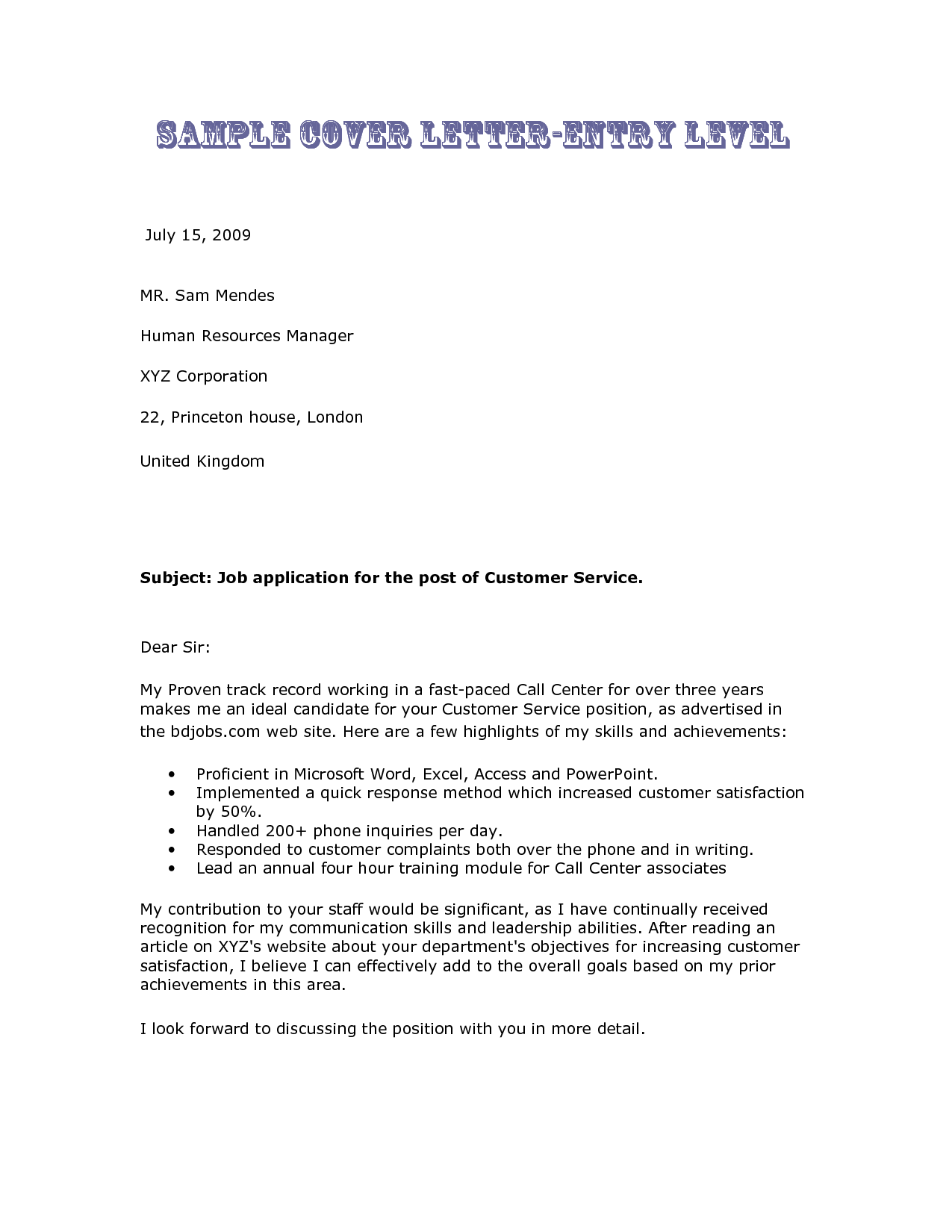 sample entry level cover letter