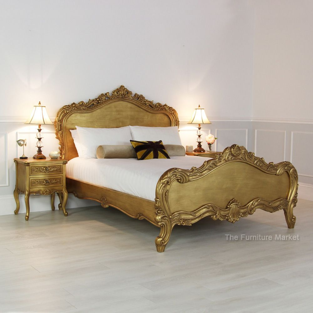 french gold leaf heavy carved 6ft super king size bed seasons