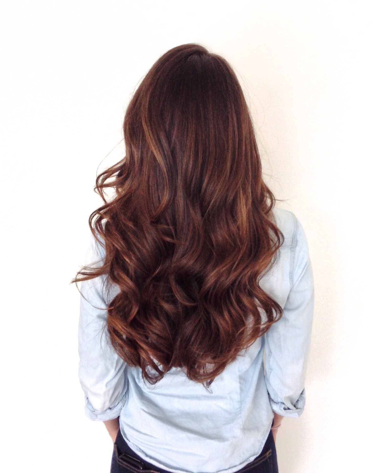 Long Healthy Brunette With Soft Sombre Warm Brown And Golden Tones