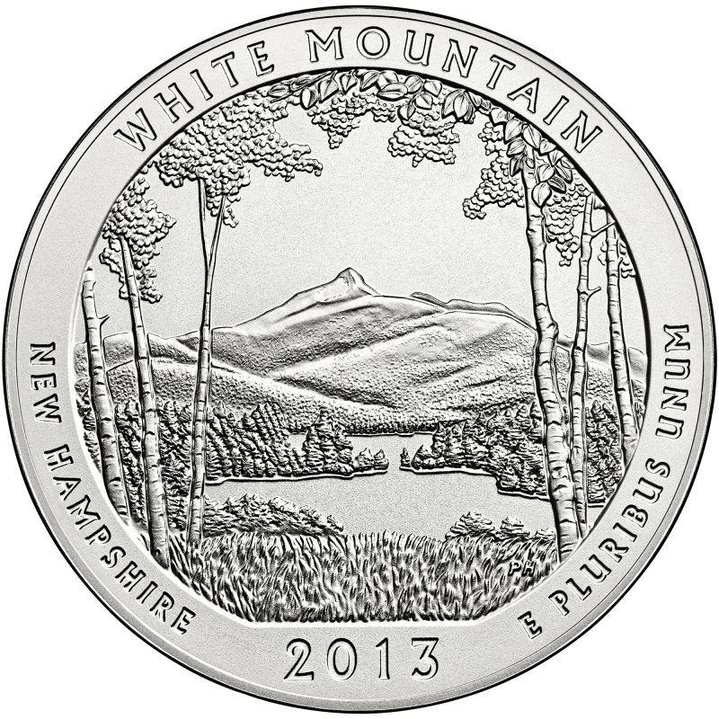 """2013 D White Mountain National Park Quarter New Hampshire /""""BU/"""" ATB"""