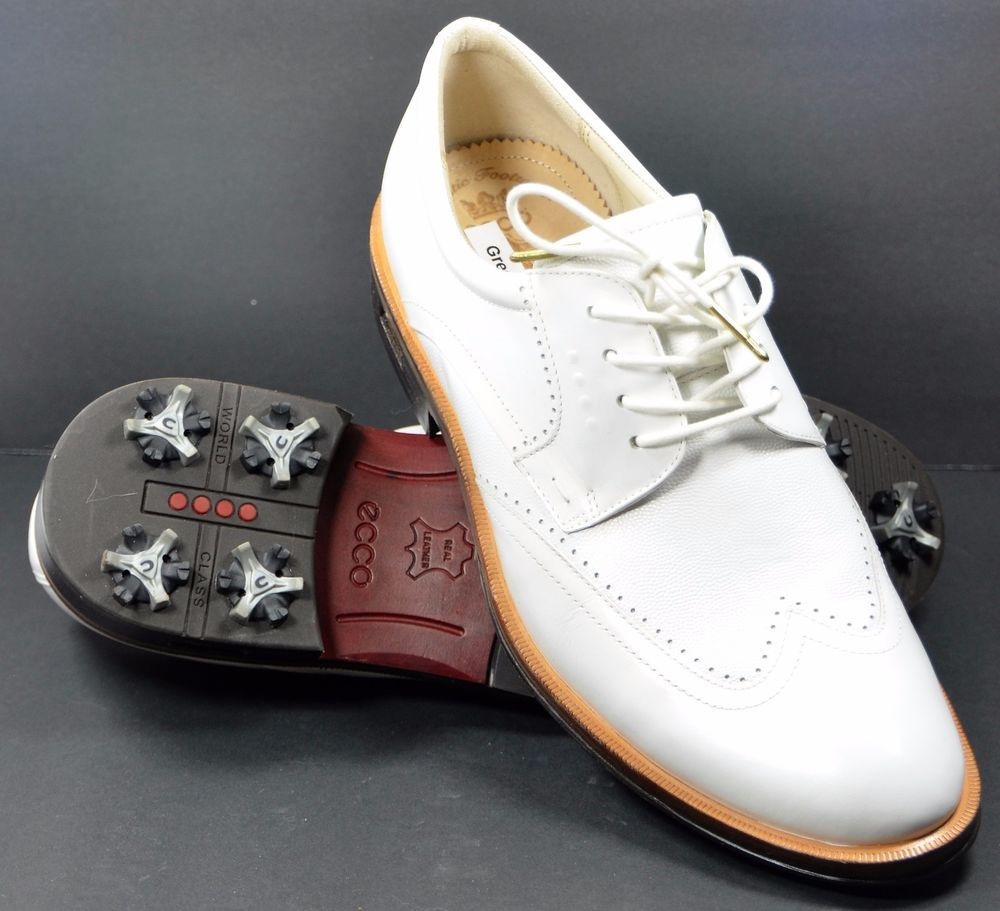 acfceaff018bf SOLD! Ecco World Class Golf Shoes Mens Leather White Wingtip EU 42 US 9   Ecco
