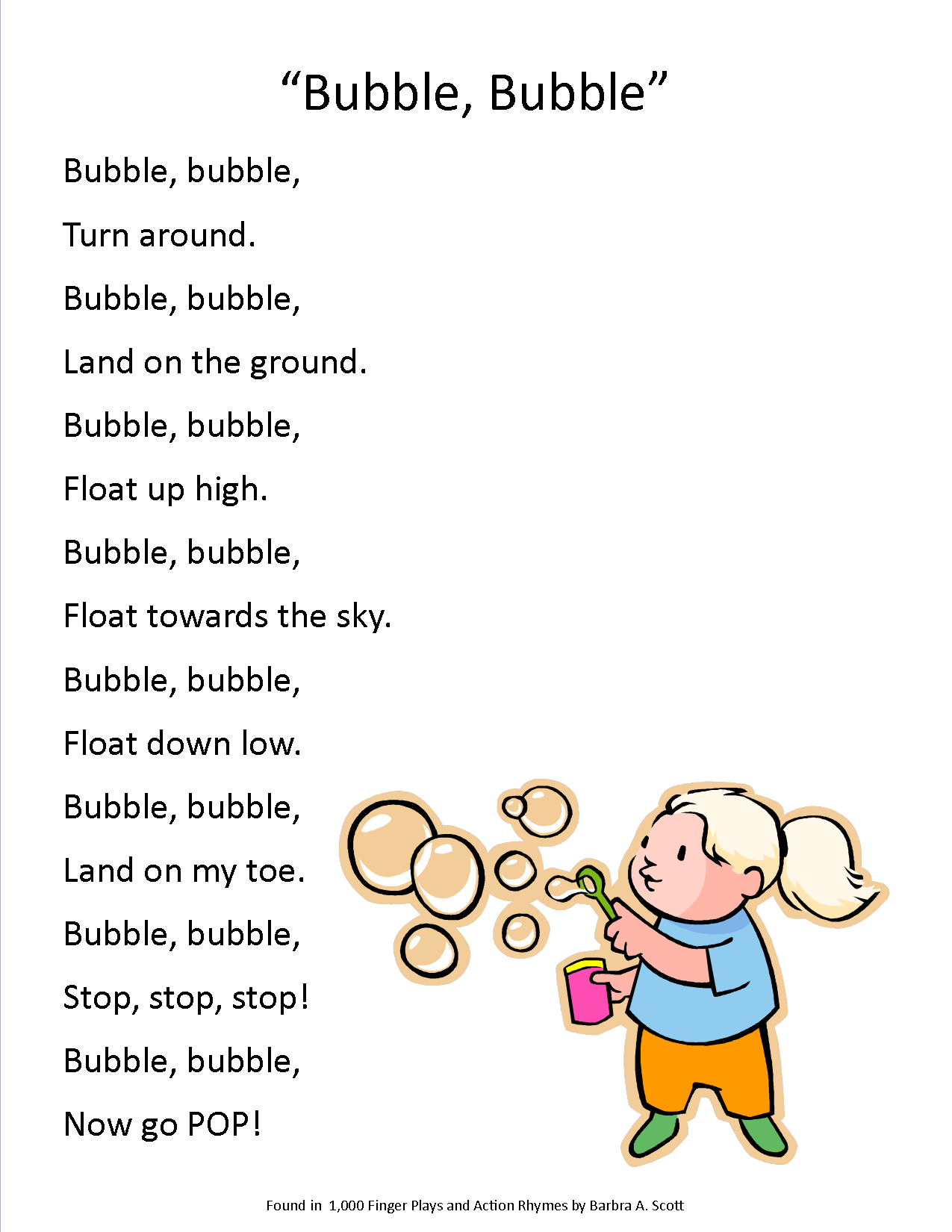 Action Song For A Bubbles Storytime Bubbles Bubbles