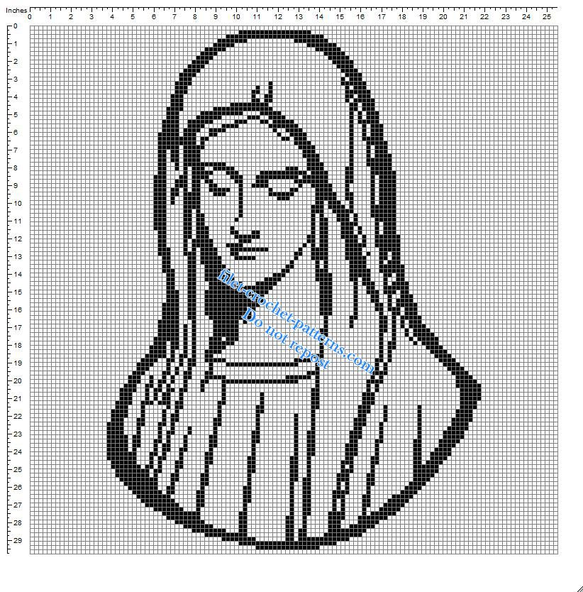 Virgin Mary small simple free crochet filet pattern - free filet ...