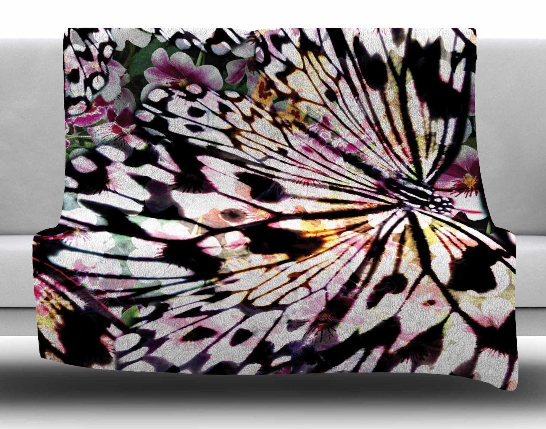 Butterfly wings by louise machado fleece blanket butterfly