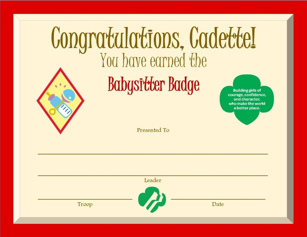 81 best cadette girl scouts images on pinterest brownie girl cadette babysitter badge certificate solutioingenieria Choice Image