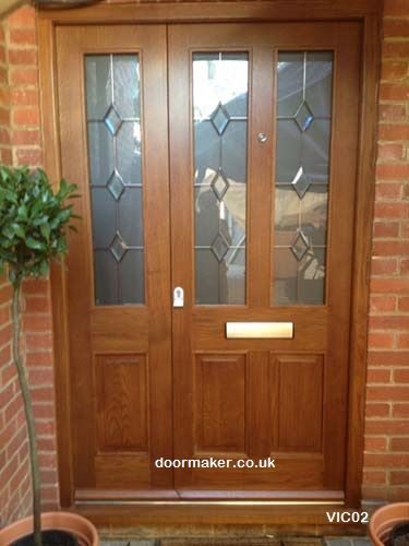 Victorian style door with lead design glazing and side panel to