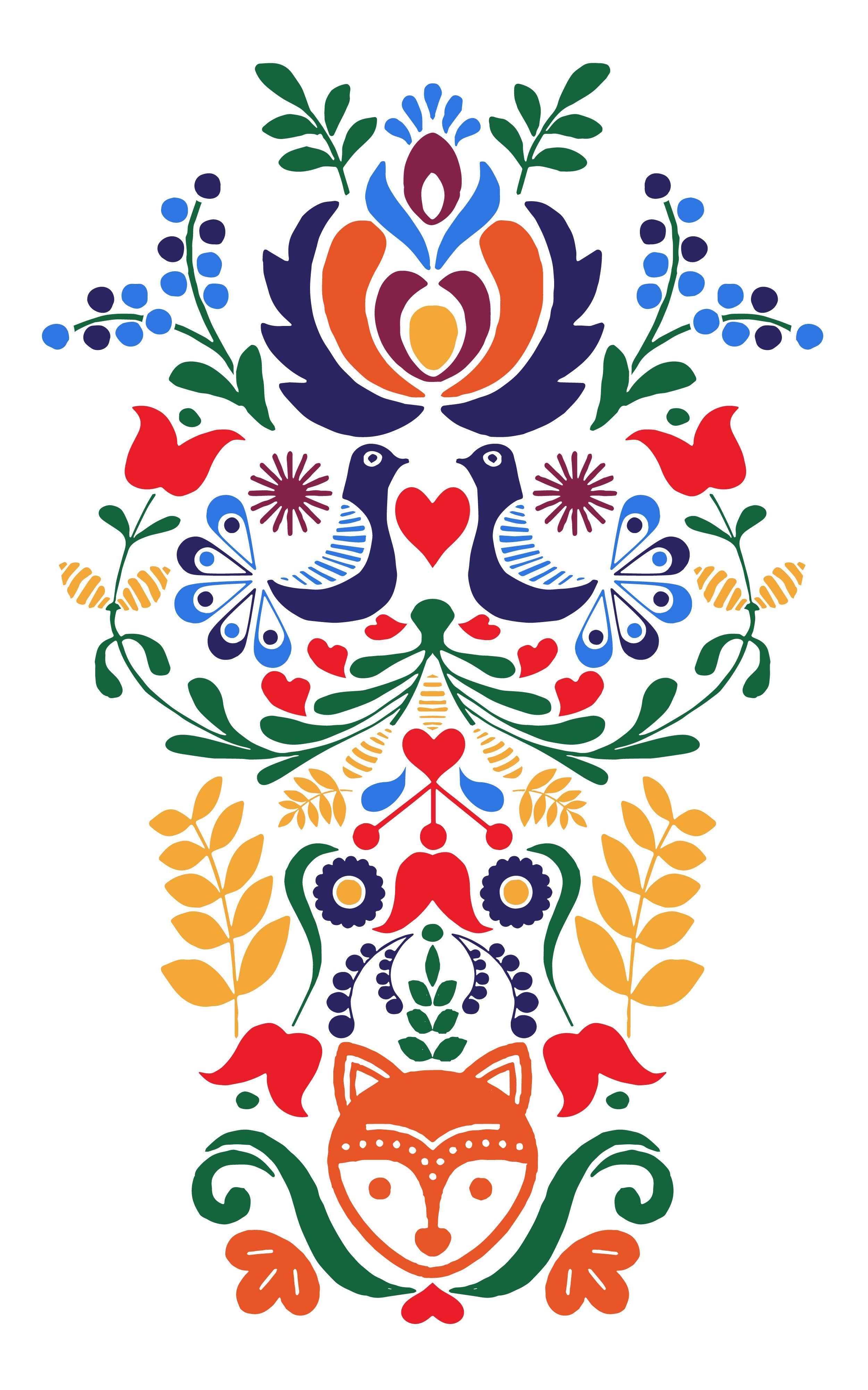 Upper Sleeve Tattoo Inspired By Swedish Heritage Folk Art