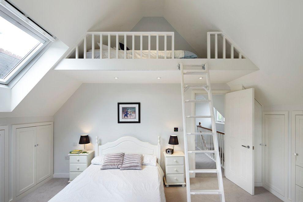 Example Of A Classic Loft Style Bedroom Design In London Loft Room Traditional Bedroom Mezzanine Bedroom