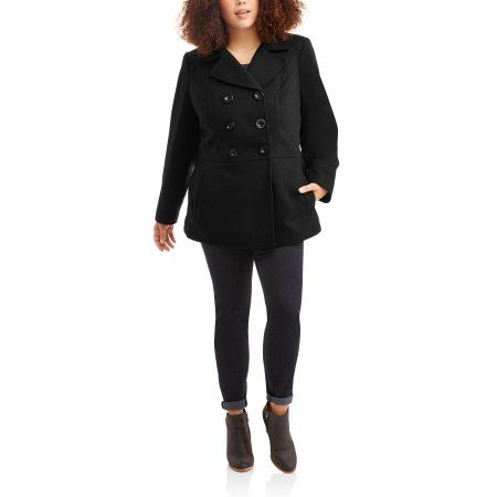 5b8c5381a8c64 Faded Glory Woman s Plus Size Double-Breasted Faux Wool Peacoat With Hood