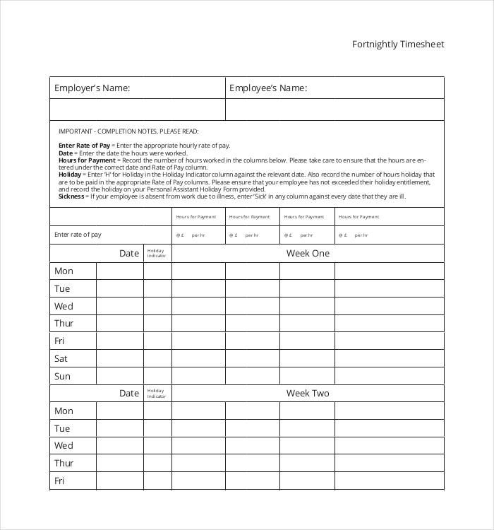11+ Timesheet Templates Free Printable Word  PDF Formats