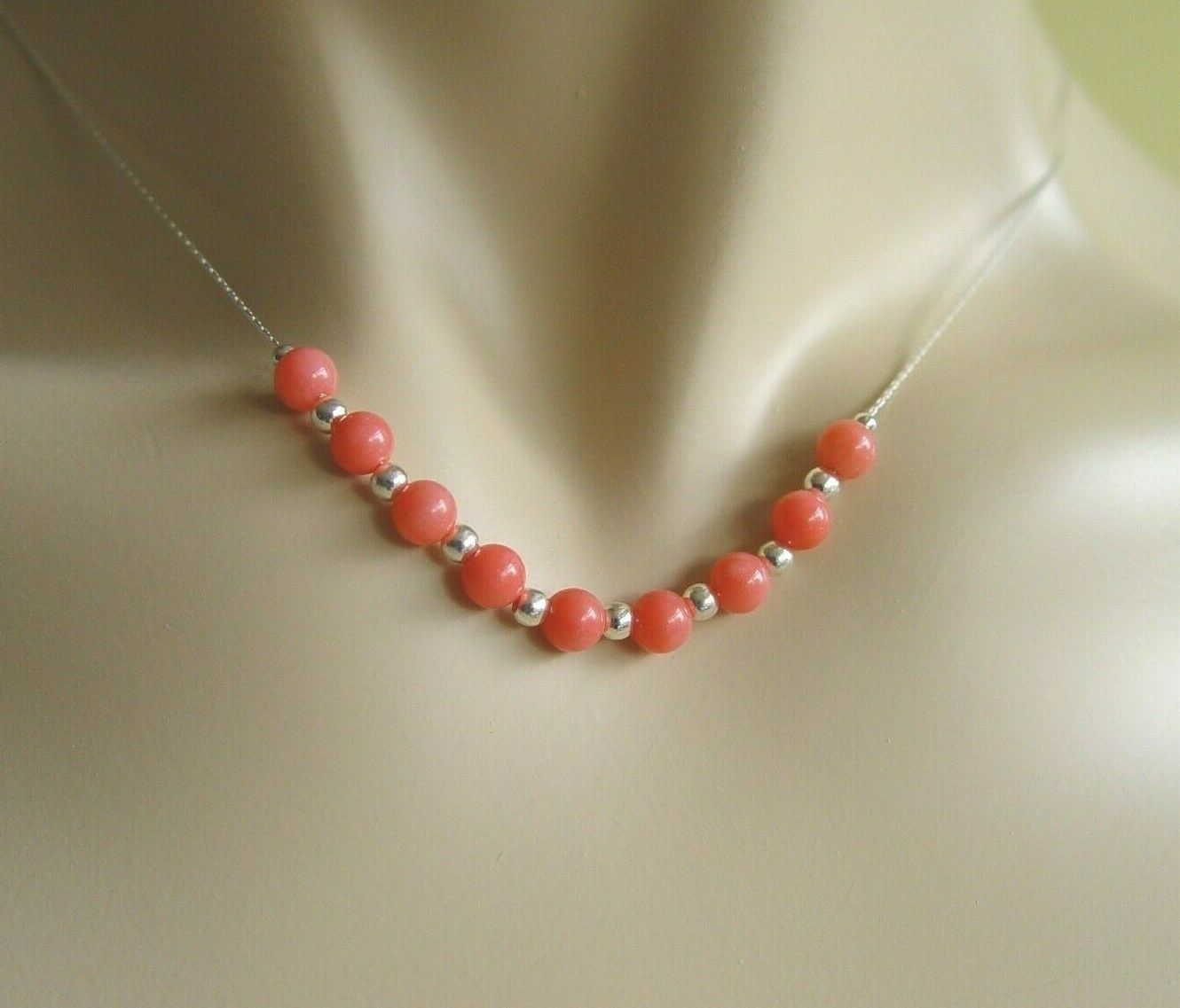 Fresh Water Pearl /& Coral Necklace Gold clasp 375