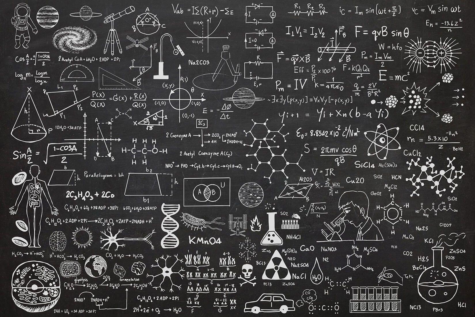 Science chalkboard wallpaper mural muralswallpaper ideas for