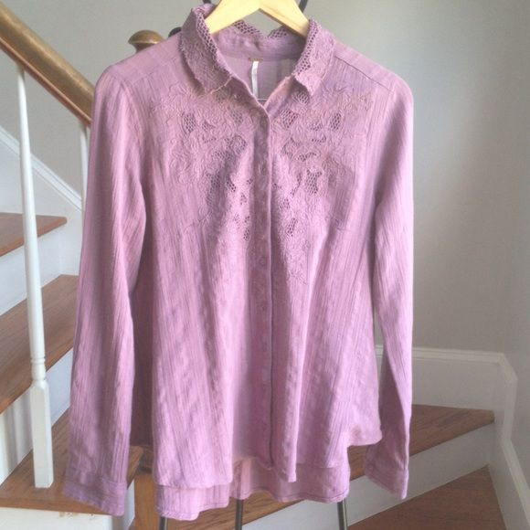NWOT Free People long sleeve button down New muted purple 100% cotton button down. Long sleeves give the shirt a relaxed fit. Medium weight cotton. Feels allot like a linen top. Lace inset on top is see through. Free People Tops Button Down Shirts