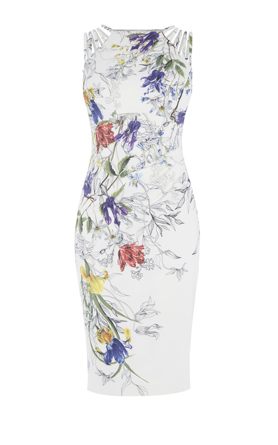 21c117fc95 Karen Millen, WHITE & FLORAL PENCIL DRESS Multicolour | ρουχα ...