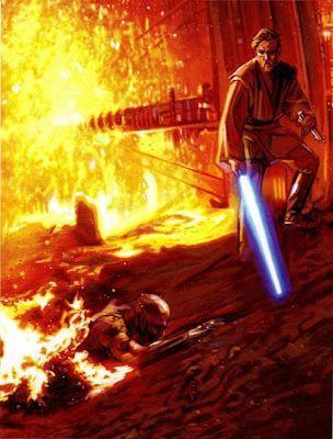 Star Wars Revenge Of The Sith Obi Wan Kenobi Anakin Battle Of Mustafar Star Wars Fine Art Pinter Star Wars Anakin Star Wars Images Star Wars Collection