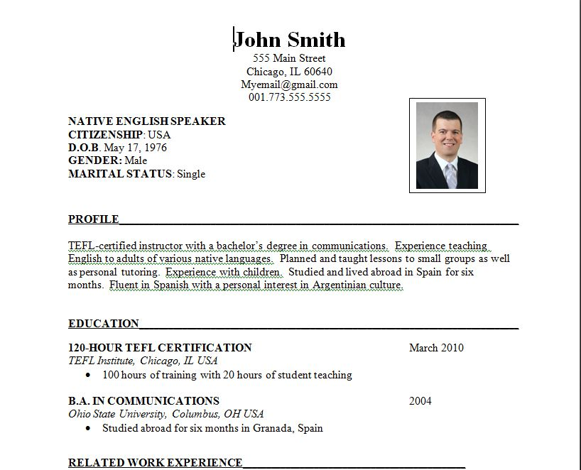Typical Resume Format The Job Hunt Writing An International Resume  Teaching Esl