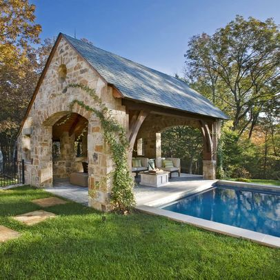 Want An Open Stone Entertaining Pavilion Next To Pool With Fireplace Outdoor Kitchen Changing And Bathroom No Pool Houses Pool House Designs Backyard Pool