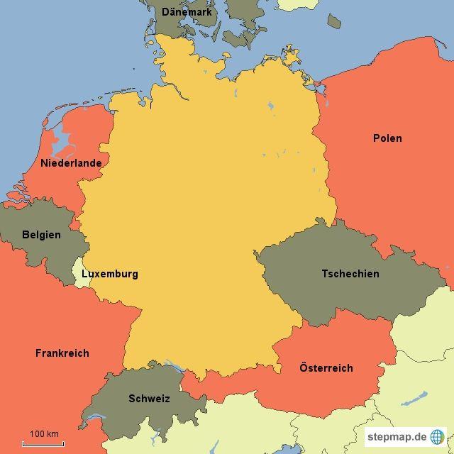 karte von deutschland mit nachbarländern 20 Arbeitsblatt Nachbarländer Deutschland   Nachbarländer