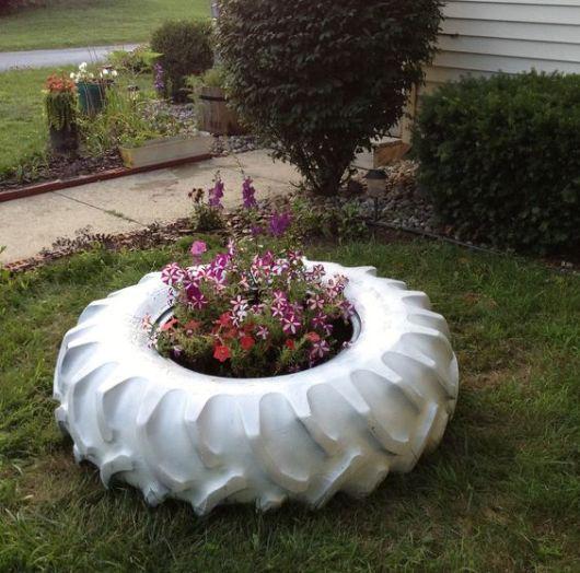jardim decorado reaproveitamento Flowers Pneu e Extérieur -> Jardins Decorados Com Pneus