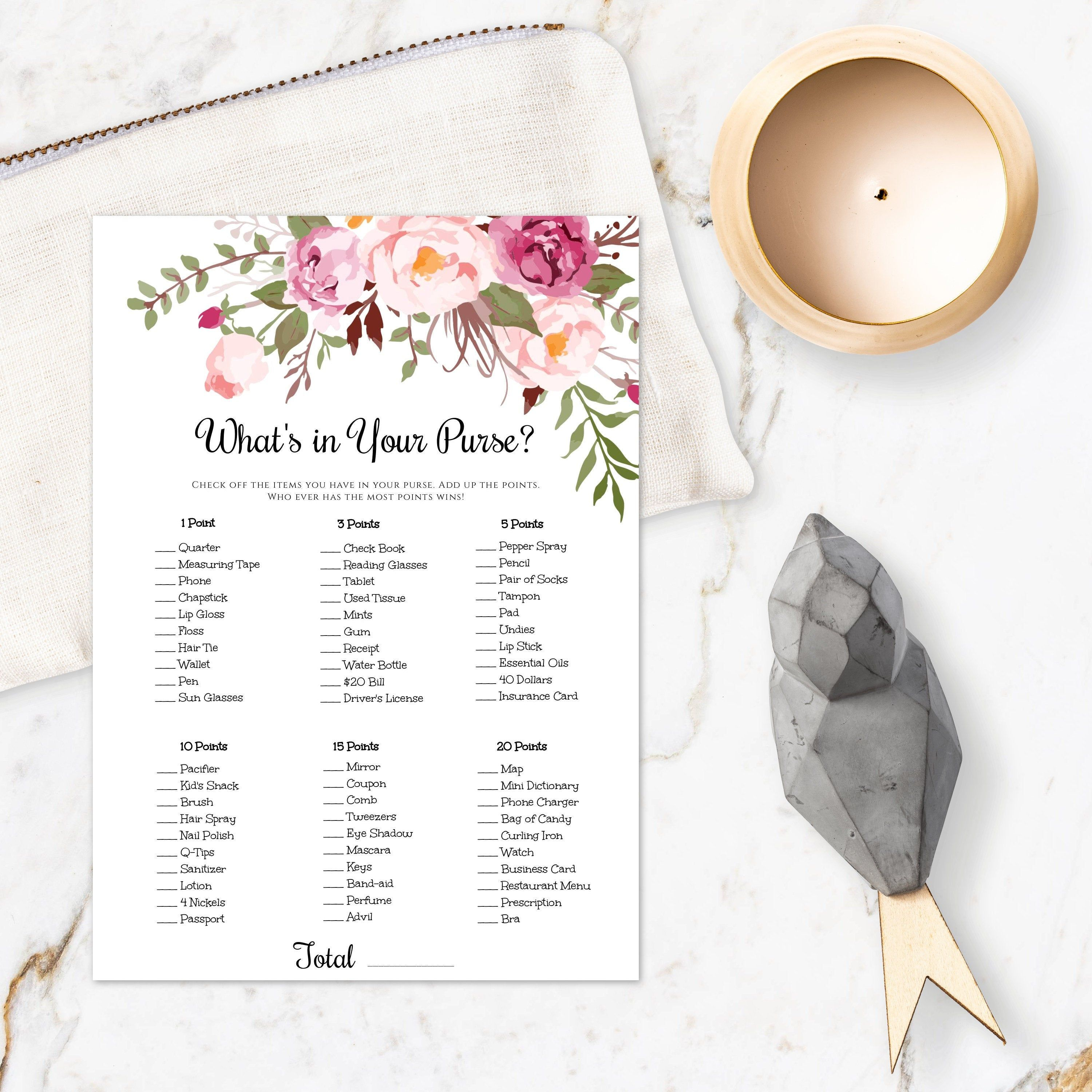 Pink Floral Boho What S In Your Purse Game Template Etsy Wedding Shower Games Bridal Shower Games Boho Bridal Shower