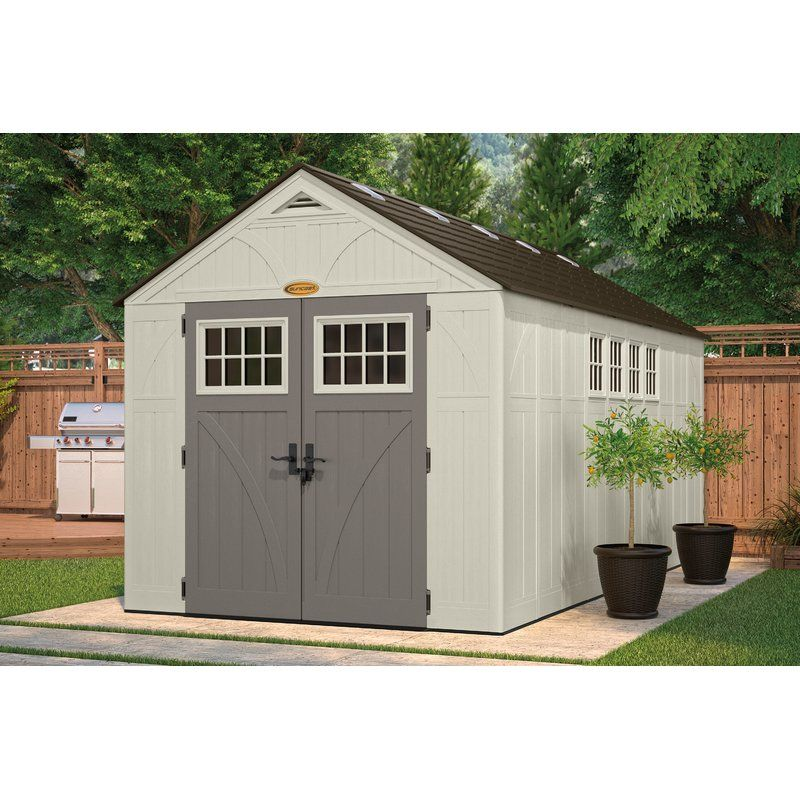 Suncast Tremont 8 5 Ft W X 16 5 Ft D Plastic Storage Shed Reviews Wayfair Building A Shed Backyard Sheds Plastic Storage Sheds