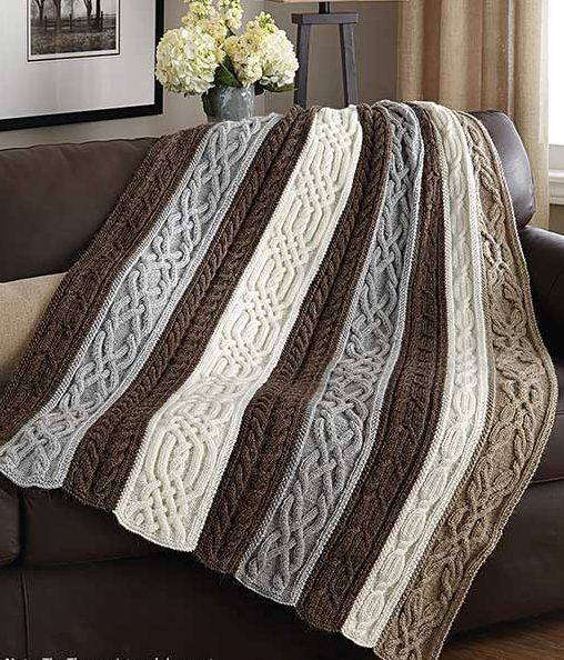 Knitting Pattern for Cable and Twists Afghan - Panels of beautiful, rich cables are knit separately, then sewn together to create this stunning throw. One of the patterns in Classic Afghans, available as an ebook or paperback. #afghanpatterns