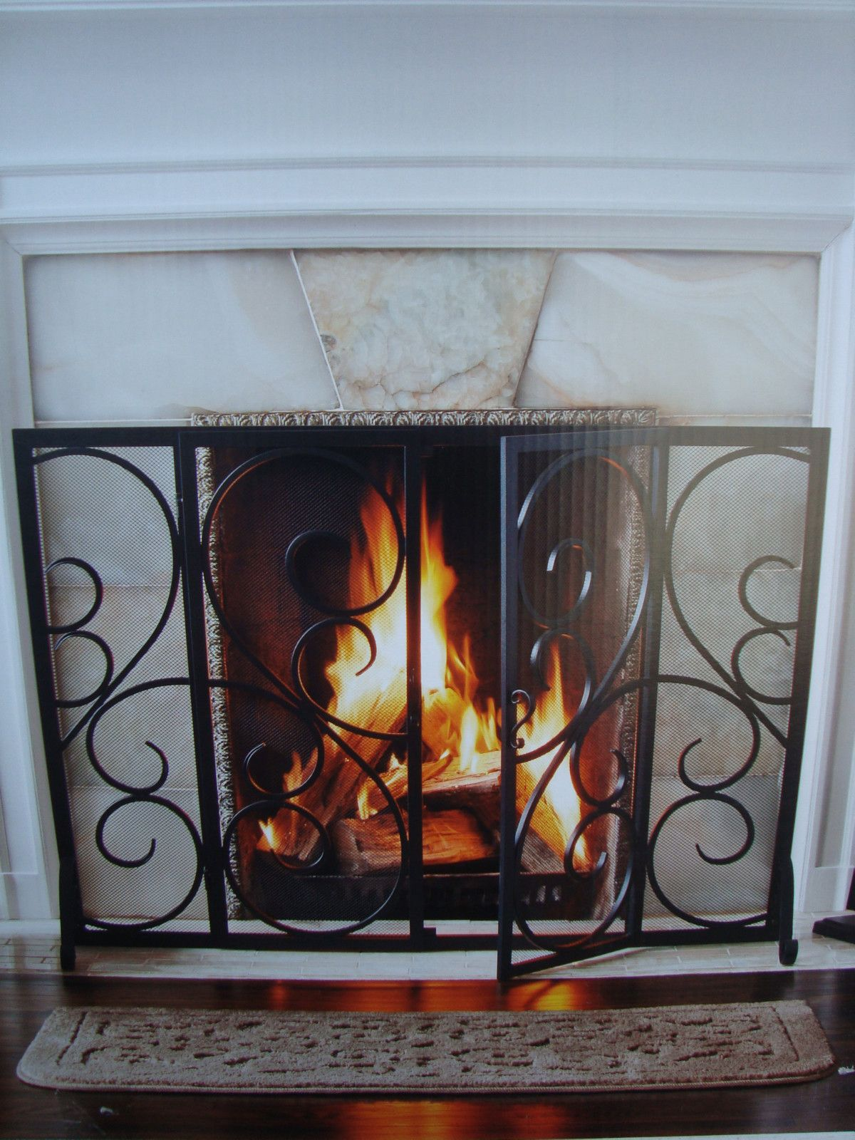 iron fireplace screens. New In Box 41 Inch Classic Black Scroll Wrought Iron Fireplace Screen Fire Place | EBay Screens