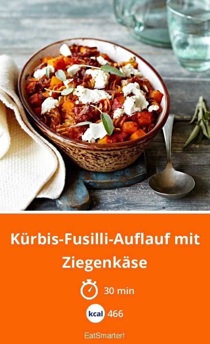 Kürbis-Fusilli-Auflauf mit Ziegenkäse