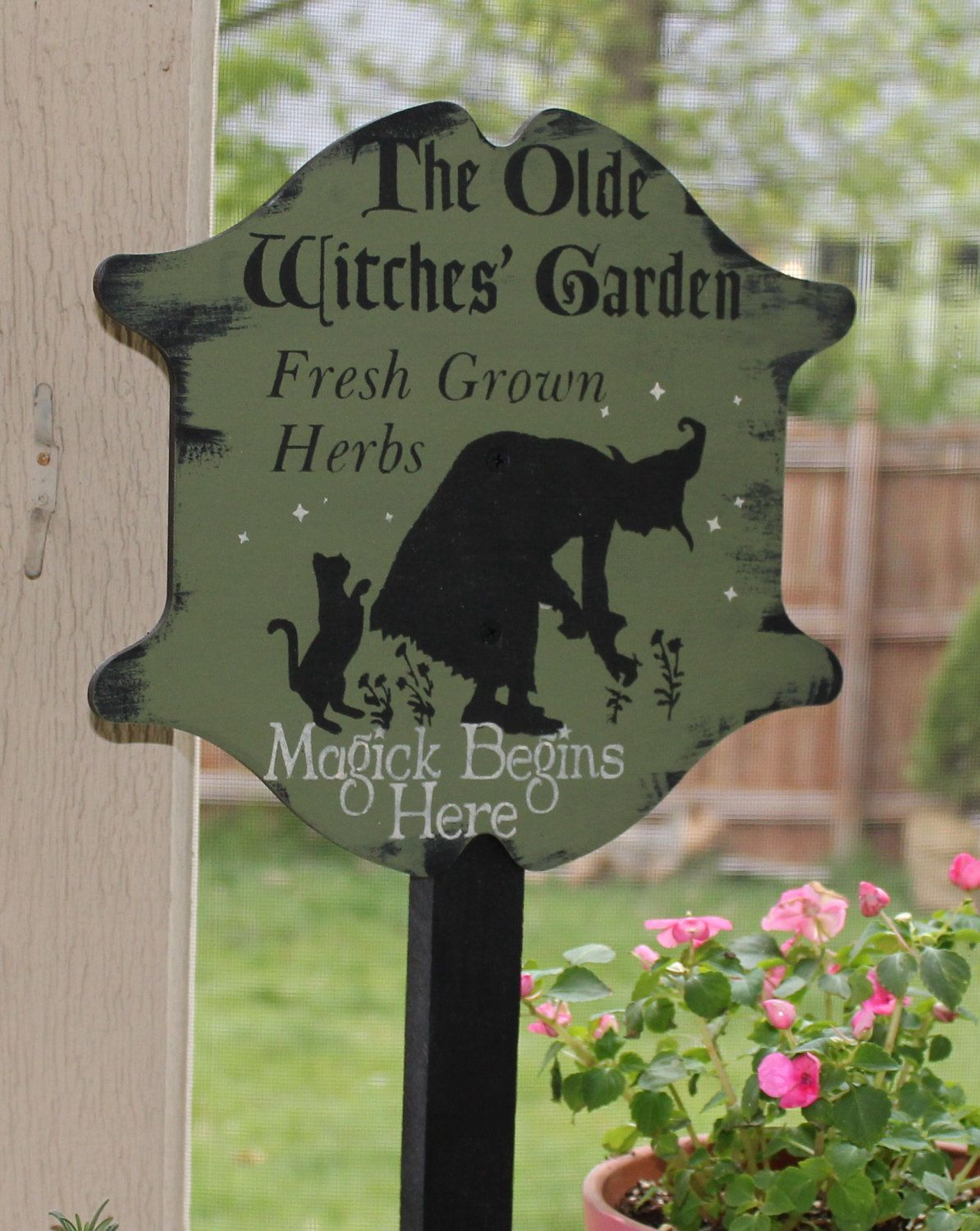 Olde Witches Herb GARDEN Decorative Sign/w/stake Wiccan/Garden Stake ...