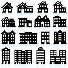 25fd117d229c House and apartment icons on white background vector art illustration