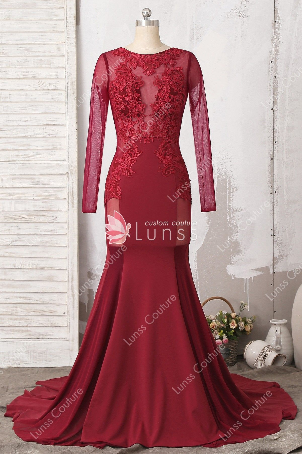 5db2bf6262 Wine Illusion Long Sleeve Fitted Lace Jersey Mermaid Long Prom Dress  Homecoming Dress for wholesale