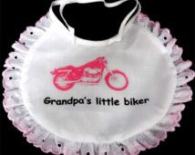 Grandpa's Little Biker Baby Bib Motorcycle Girl Lacy PINK Newborn Patch BAB-0005