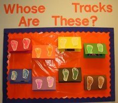 Whose Tracks Are These? Footprint Craft & Bulletin Board Idea images