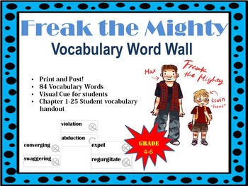 Freak The Mighty Vocabulary Word Wall Vocabulary Word Walls Freak The Mighty Vocabulary Words