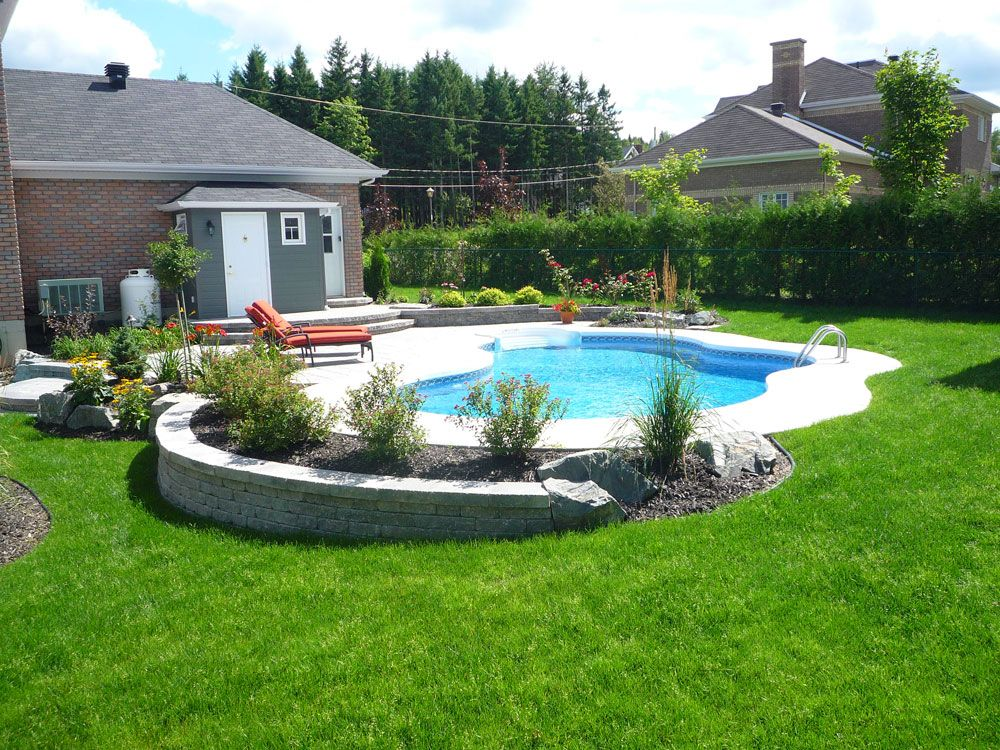 Traditional in ground pool i love the landscaping which for Simple pool landscaping ideas