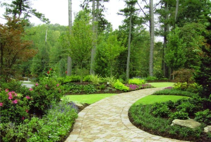 Curved Brick Walkway - Atlanta Landscaping Photos - Botanica Atlanta | Landscape Design, Construction & Maintenance