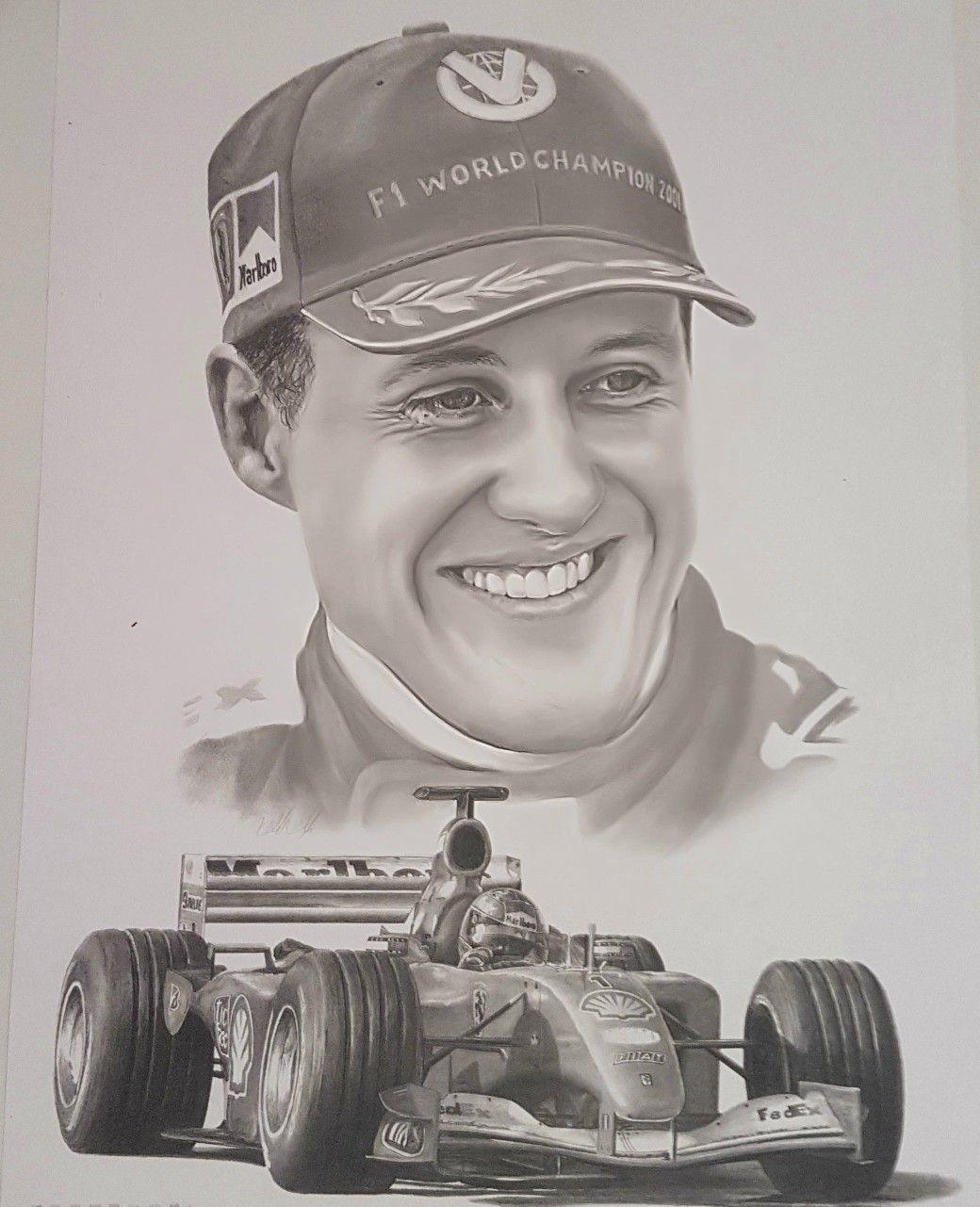 Pencil Drawing Of The Great Michael Schumacher This Was The Fifth