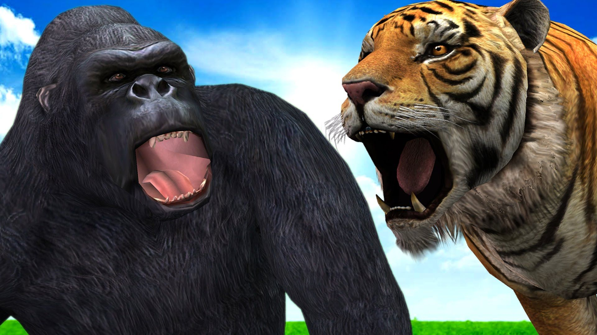 King Kong Gorilla Vs Tiger Wild Animal Fights | Animal Cartoons Finger F...
