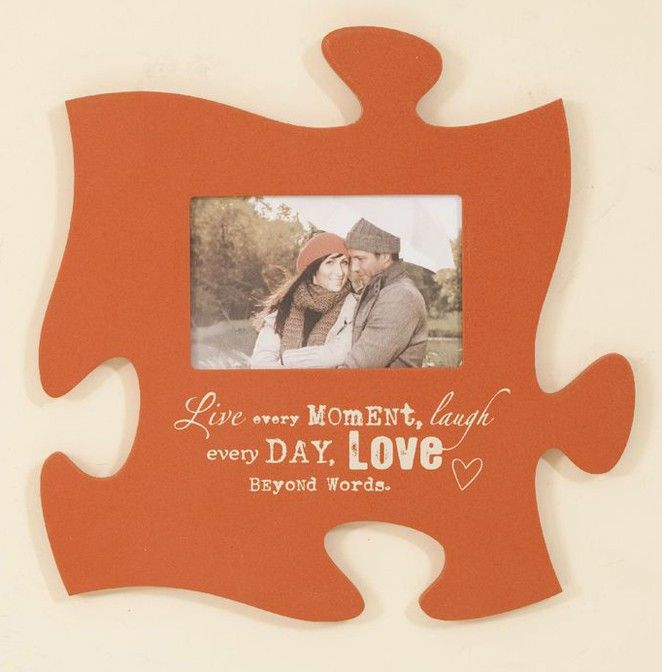 puzzle shaped connectable photo frames | love-every-moment-orange ...