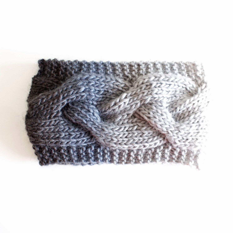 Hand knit headband Head wrap Knitted head wrap Bandana White