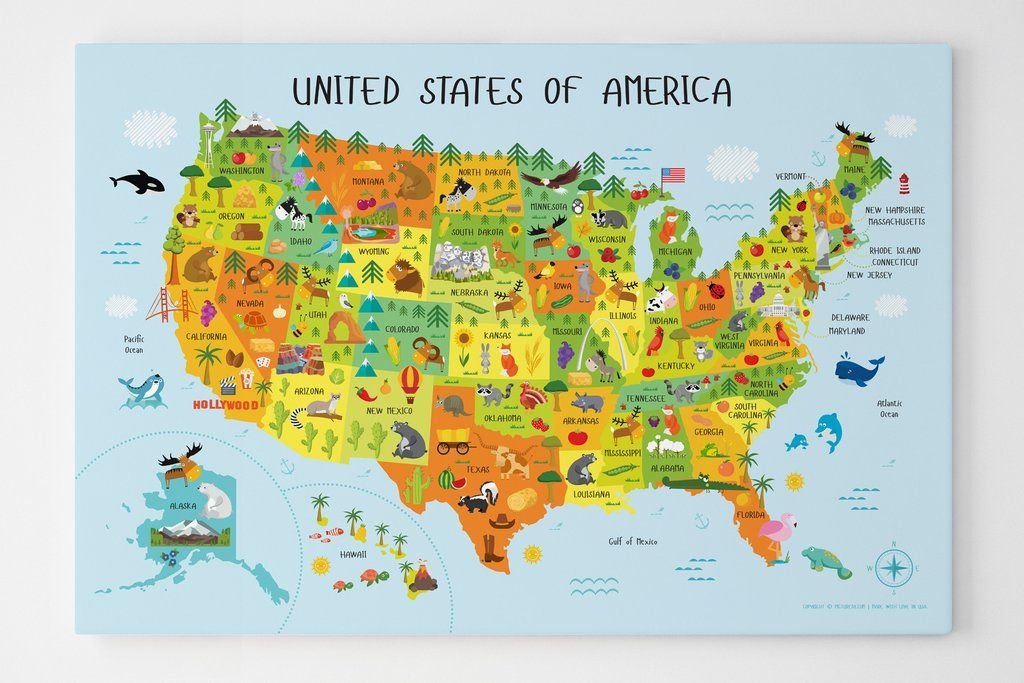 usa map for kids, unique baby gifts, usa map with states, usa map ...