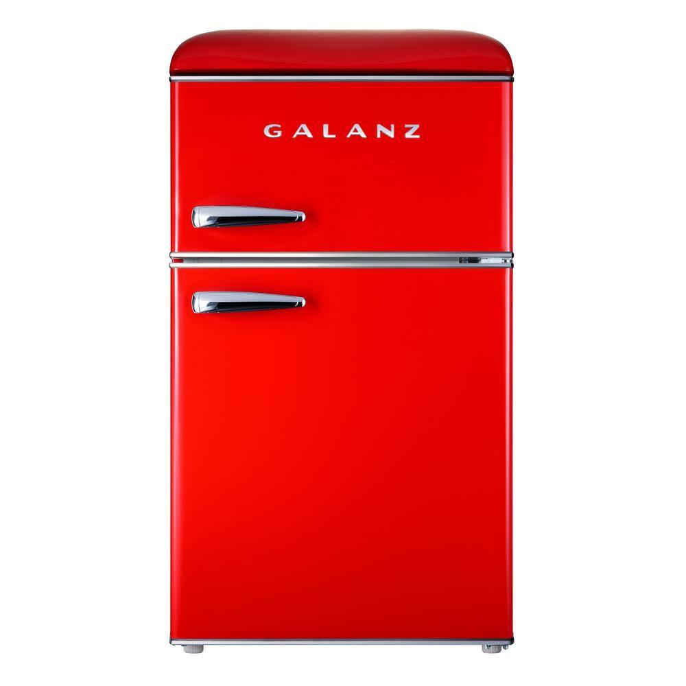 Galanz 3 1 Cu Ft Retro Mini Fridge With Dual Door True Freezer In Red Glr31trder The Home Depot True Freezer Mini Fridge Retro Fridge