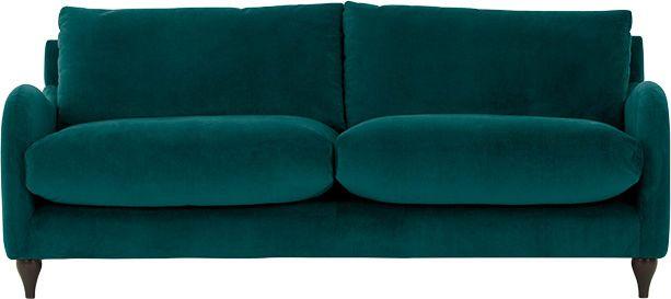 Sofia 3 Seater Sofa, Plush Mallard Velvet From Made.com. Blue. With
