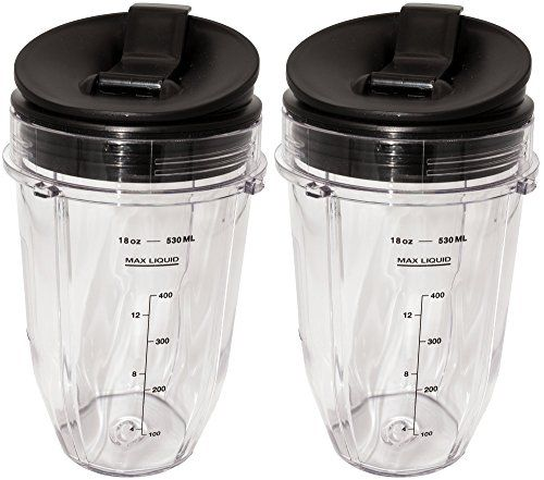 Blendin 2 Pack Small 18 Ounce Cup with Sip N Seal Flip Lids Fits Nutri Ninja AutoiQ 1000