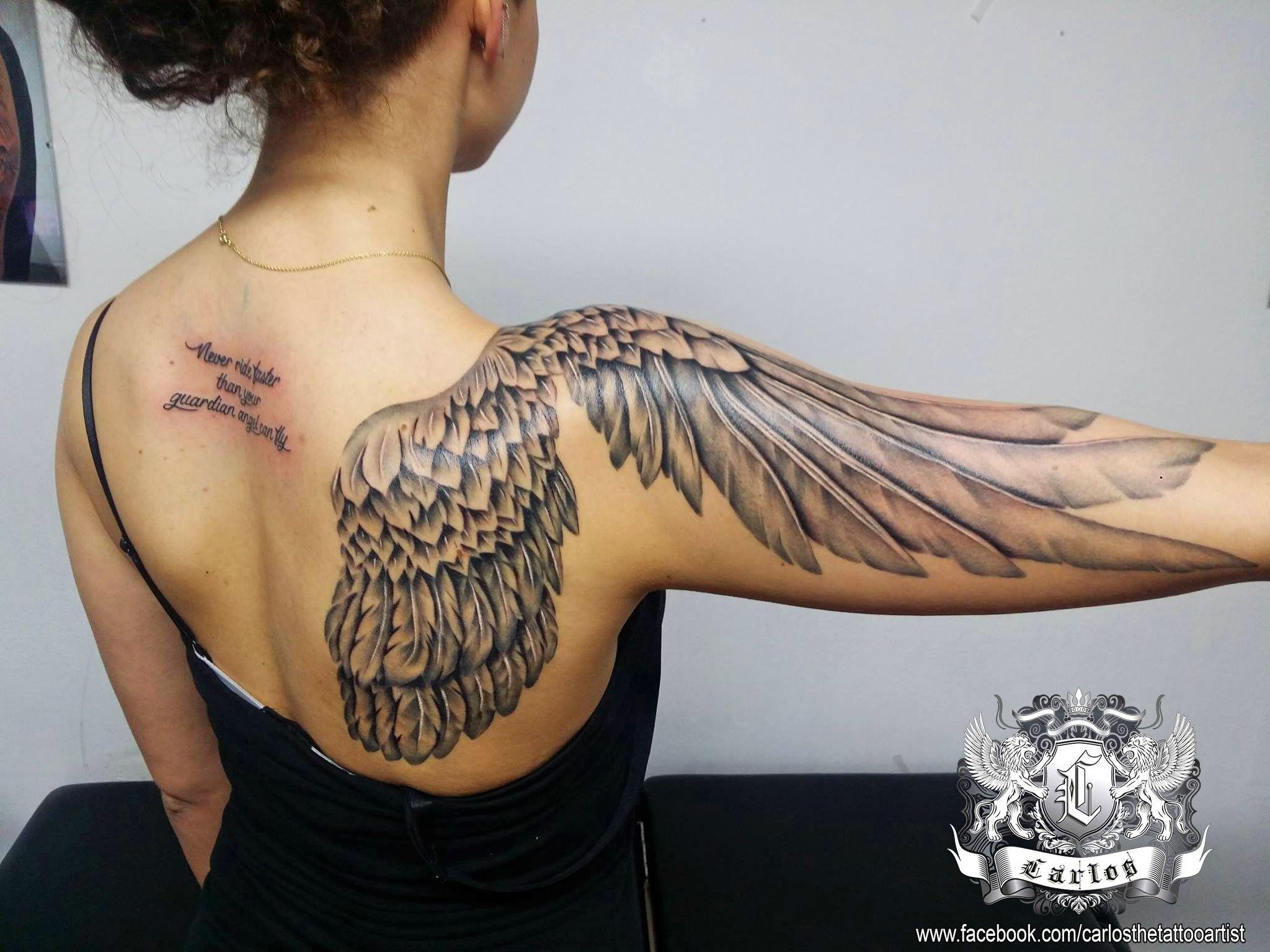 99ce4bef7d7bf wing tattoo, angel wing, female tattoo, sexy tattoo, girlish tattoo, black  and grey tattoo, realistic tattoo, shoulder tattoo, back tattoo, arm tattoo,  ...
